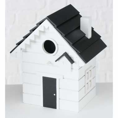 Vogelhuisje/vogelhuisjes wit hout 20 cm