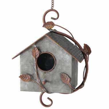 Vogelhuisje/vogelhuisjes zink grijs/bruin 30 cm
