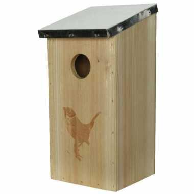 Vogelhuisjes/vogelhuisjes van vurenhout 12 x 13,5 x 26 cm