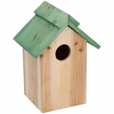 Voordeel pakket 10x houten vogelhuisjes met groen dak 24cm