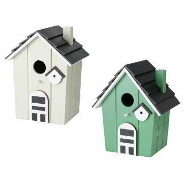 Voordeelset van 2x stuks vogelhuisjes/vogelhuisjes groen en beige hout 21 cm