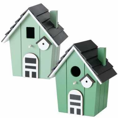 Voordeelset van 2x stuks vogelhuisjes/vogelhuisjes lichtgroen en groen hout 21 cm