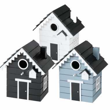 Voordeelset van 3x stuks vogelhuisjes/vogelhuisjes blauw, wit en zwart van hout 21 cm