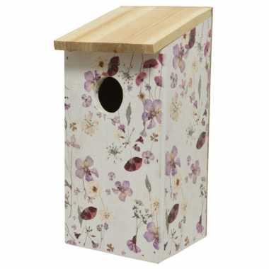 Vurenhouten vogelhuisjes/vogelhuisjes met bloemen print 12 x 13,5 x 26 cm