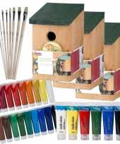 10x stuks houten vogelhuisje vogelhuisje 22 cm zelf schilderen pakket verf kwasten 10277409