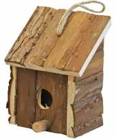 1x broedhuis vogelhuisje vierkant met schuin dak naturel 9 x 11 x 16 cm