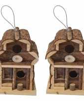 2x broedkasten broedhuizen vogelhuisjes rond dak naturel 15 x 15 x 21 5 cm