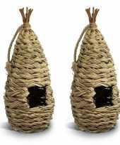 2x nestbuidels vogelhuisjes gevlochten 16 cm