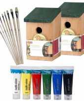 2x stuks houten vogelhuisje vogelhuisje 22 cm zelf schilderen pakket verf kwasten