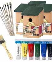 4x stuks houten vogelhuisje vogelhuisje 22 cm zelf schilderen pakket verf kwasten