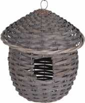 Gevlochten zeegras vogelhuisje vogelhuisje 25 cm grijs