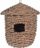 Gevlochten zeegras vogelhuisje vogelhuisje 30 cm naturel