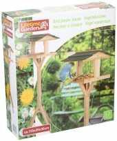 Houten vogel voederhuis op voet 115 cm vogelhuisje