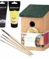 Houten vogelhuisje vogelhuisje 22 cm zwart geel dhz schilderen pakket 10277400