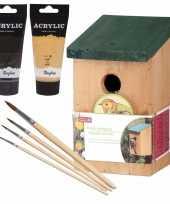 Houten vogelhuisje vogelhuisje 22 cm zwart goud dhz schilderen pakket 10277399