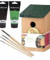 Houten vogelhuisje vogelhuisje 22 cm zwart groen dhz schilderen pakket 10277397