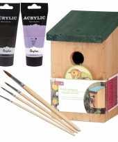 Houten vogelhuisje vogelhuisje 22 cm zwart lila paars dhz schilderen pakket 10277393