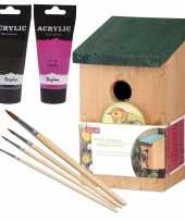 Houten vogelhuisje vogelhuisje 22 cm zwart roze dhz schilderen pakket 10277173