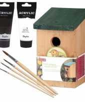 Houten vogelhuisje vogelhuisje 22 cm zwart wit dhz schilderen pakket 10277172