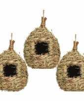 Set van 3 vogelhuisjes vogelhuisjes stro druppelvorm 23 cm