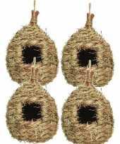 Set van 4 vogelhuisjes vogelhuisjes stro druppelvorm 23 cm