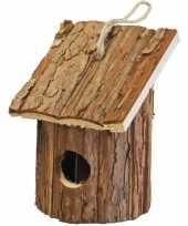 Vogelhuisje vogelhuisje hout rond naturel bruin 10 x 11 x 16 cm
