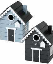 Voordeelset van 2x stuks vogelhuisjes vogelhuisjes zwart en blauw van hout 21 cm